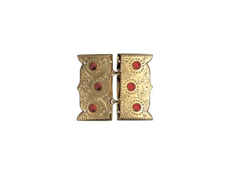 Beltespenne, forgylt m.rød stein og syhol